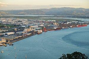 Port of Tauranga - Eastern port facilities (general freight areas), seen from Mauao/Mount Maunganui.