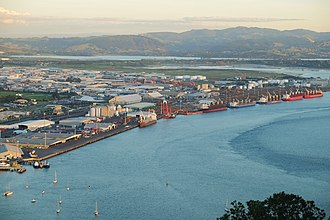 Port of Tauranga - Eastern port facilities (general freight areas), seen from Mount Maunganui.