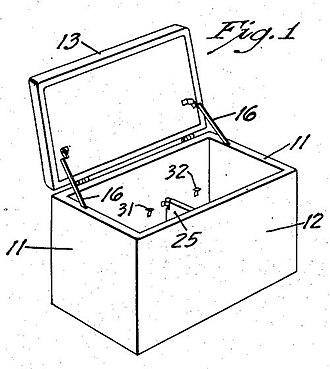Cooler - Image: Portable Ice Chest Patent 1955