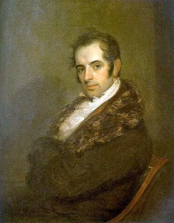 Washington Irving as a young man, in coat with fur collar.
