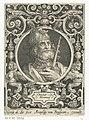 Portret van Hector van Troje in medaillon binnen rechthoekige omlijsting met ornamenten Hector troianus (titel op object) De negen besten (serietitel), RP-P-BI-5034.jpg