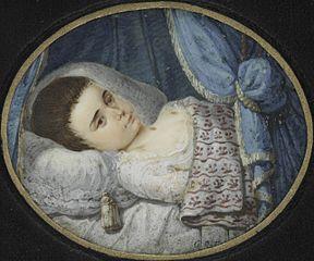 Portrait eines kranken Mädchens im Bett liegend