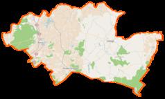 """Mapa konturowa powiatu sztumskiego, u góry nieco na prawo znajduje się punkt z opisem """"Jasna"""""""