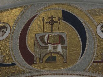 Hetoimasia - Modern depiction in a Romanian Orthodox church, with crown of thorns around the cross.