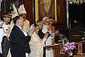 Pranab Mukherjee, the outgoing President, Smt. Pratibha Devisingh Patil, the Vice President, Shri Mohd. Hamid Ansari, the Speaker, Lok Sabha, Smt. Meira Kumar and the Chief Justice of India.jpg