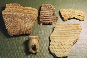 History of Sierra Leone - Fragments of prehistoric pottery from Kamabai Rock Shelter