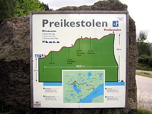 Preikestolen - Trail map and profile