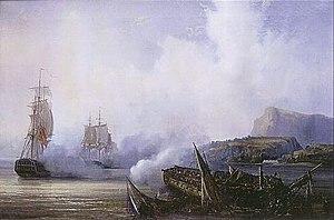 HMS Adamant (1780) - Destruction of ''Preneuse'', depicted by Auguste Mayer