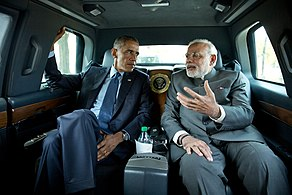 President Barack Obama and Prime Minister Narendra Modi of India en-route to the Martin Luther King, Jr. memorial on the National Mall in Washington, D.C., Sept. 30, 2014.jpg
