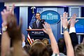 President Barack Obama takes questions from student reporters during College Reporter Day (26608406132).jpg