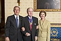 President George W. Bush and Mrs. Laura Bush with Presidential Medal of Freedom Recipient Robert Conquest.jpg