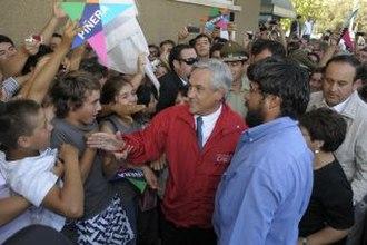 2010 Pichilemu earthquake - President Piñera's visit to Rancagua on the earthquake day