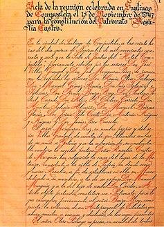 Primeira páxina do Libro de Actas do Patronato Rosalía de Castro