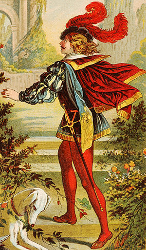 Prince Charming - Prince Charming of Sleeping Beauty, a print drawing from the late-19th-century book Mein erstes Märchenbuch, published in Stuttgart, Germany