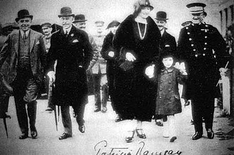 Princess Patricia of Connaught - Patricia with the Duke of Connaught and Capt. T. W. James, Director of the Princess Pat's Band at Wembley, England in 1924