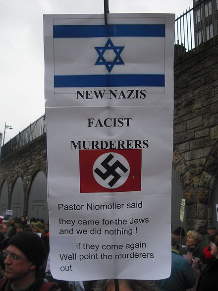 A sign held at a protest in Edinburgh, Scotland on January 10, 2009 Protests Edinburgh 10 1 2009 5.JPG