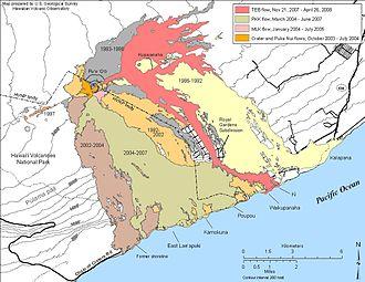 Puʻu ʻŌʻō - USGS Map of Historic Flows 1983–April, 2008