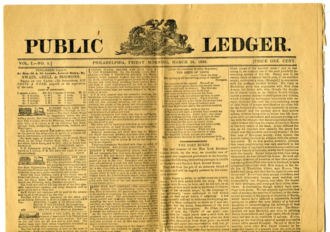Public Ledger (Philadelphia) - First edition, March 25, 1836
