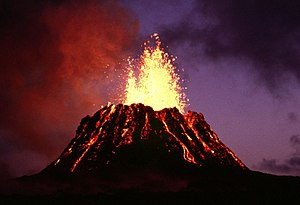 Cinder cone - Pu'u O'o, an active cinder cone in Hawaii and also part of Kilauea