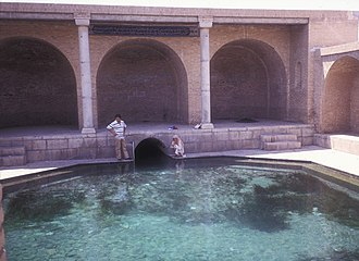"""Qanat - This qanat surfacing in Fin is from a spring thought to be several thousand years old, called The Spring of Solomon (""""Cheshmeh-ye Soleiman""""). It is thought to have been feeding the Sialk area since antiquity."""