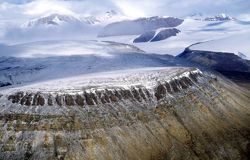 snow-topped mountains and cliffs in Quttinirpaaq National Park, far-northern Canada