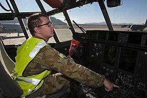 No. 37 Squadron RAAF - Image: RAAF airman in a C 130J at Red Flag 15 1