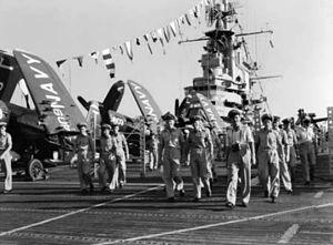 RAAF personnel visiting USS Wasp (CV-18) at Malta 1952.jpg