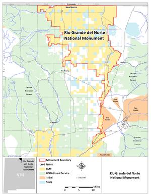 Rio Grande del Norte National Monument - Image: RGDN Map