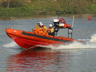 RNLI E class lifeboat based at Chiswick Pier performing a rescue RNLI Chelsea Pensioner.jpg