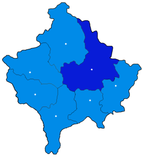 Localisation du district de Pristina au Kosovo