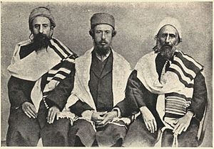 Yihya Yitzhak Halevi - Chief Rabbi (L) in 1911, sitting with Zionist emissary, Shemuel Yavne'eli (C), and the Rabbi's father-in-law, Suleiman Hibshush (R)