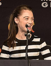Raffey Cassidy on the Tomorrowland panel at MCM London Comic Con (cropped).jpg