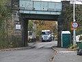 Railway bridge with 'portaloo', Church Lane - geograph.org.uk - 1592314.jpg