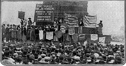 A demonstration in Trafalgar Square Rally at Trafalgar Square, part of the Mud March.jpg