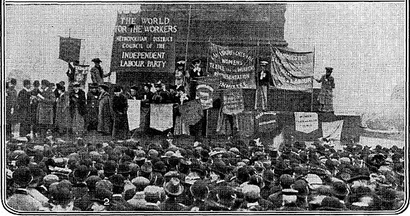 The rally at the base of Nelson's Column, Trafalgar Square