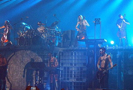 Rammstein performing along with Finnish act Apocalyptica in 2005 Rammstein&Apocalyptica.jpg