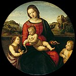 Raphael - Mary with the Child, John the Baptist and a Holy Boy (Madonna Terrranuova) - Google Art Project.jpg