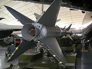 S-75 Dvina - Rear view showing the solid-propellant booster nozzle, as displayed in Imperial War Museum Duxford
