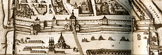 Saint Basil's Cathedral - Red Square, early 17th-century. Fragment from Blaeu Atlas. The structure with three roof tents in foreground left is the original detached belfry of the Trinity Church, not drawn to scale. Trinity Church stands behind it, slightly closer to the road starting at St. Frol's (later Saviour's ) Gate of the Kremlin. The horseshoe-shaped object near the road in the foreground is Lobnoye Mesto.