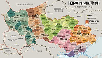 Ukrainian Auxiliary Police - Map of the Reichskommissariat Ukraine superimposed with outline of modern-day Ukraine