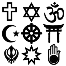 Religious symbols, Left to right: Row 1. Christian, Jewish, Hindu    Row 2. Islamic, Buddhist, Shinto  Row 3. Sikh, Baha'i, Jain
