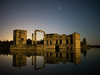 Faded (Alan Walker song) - Derelict Rummu quarry utility buildings in the water at night, September 2014