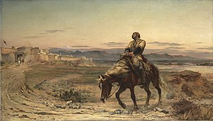 "Elizabeth Thompson - ""Remnants of an Army"", showing the only British survivor of the 1842 retreat from Kabul"