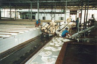 Crepe rubber - Image: Removing Coagulum From Coagulating Troughs