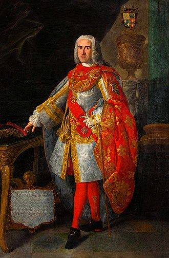 Order of Saint Januarius - Diego Madariaga wearing the mantle and insignia of the order