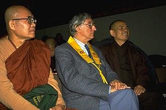 Sangharakshita - Ven. Rewata Dhamma, Sangharakshita and Thich Nhat Hanh at the European Buddhist Union Congress, Berlin, 1992