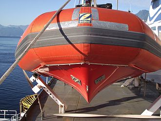 Rigid-hulled inflatable boat - Forward hull assembly of RHIB prepared as an emergency boat on a ferry in British Columbia, Canada
