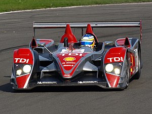 Mike Rockenfeller - Rockenfeller driving the Audi R10 TDI en route to winning the 2008 Le Mans Series Drivers Championship.