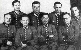Roman Shukhevych - Schutzmannschaft Battalion 201 leaders, with Roman Shukhevych (sitting, second from left), 1942