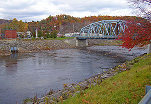 Rondout Creek - Routes 32 and 213 cross the Rondout, in a flood-control channel, at Rosendale.